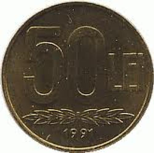 Coins;  Romania 50 leu Steel plated with brass
