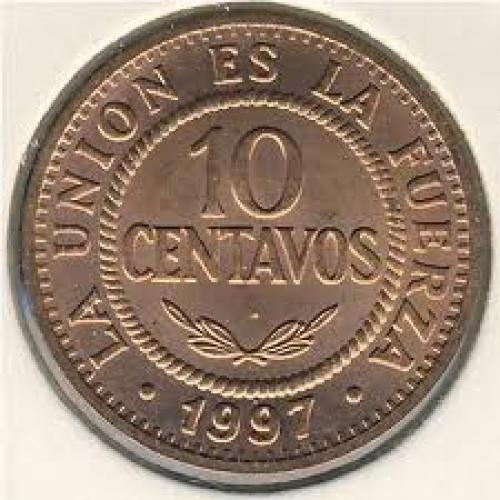 Coins; Bolivia, 10 centavos, 1997–2006