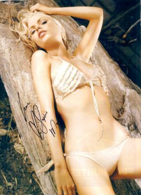 Sophie Monk autographed Stuff magazine bikini photo