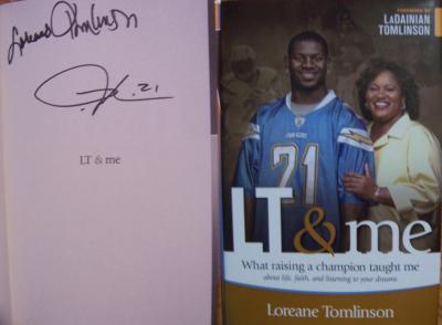 LaDainian Tomlinson autographed LT & Me hardcover book