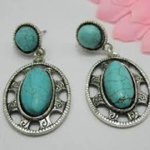 Ethnic Soft Blue Vintage Earring Fashion