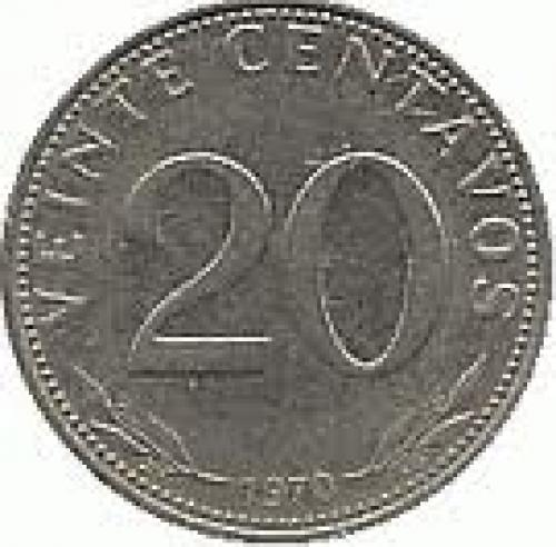 Coins;  Bolivia 20 centavos Nickel-plated