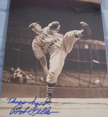 Bob Feller autographed Cleveland Indians 11x14 photo inscribed Throw hard