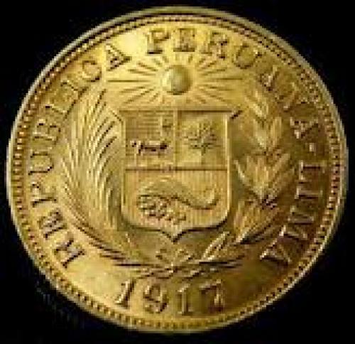 Coins;  1 LIBERA POUND PERU GOLD COIN 1917