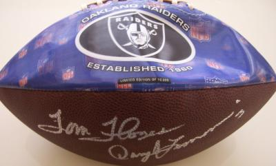 Tom Flores Daryle Lamonica Jim Plunkett autographed Oakland Raiders football