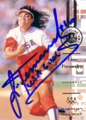 Lisa Fernandez autographed 1996 Upper Deck U.S. Olympic softball card