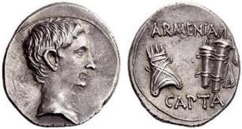 Coins; Armenia; Silver coin of Augustus circa 19-18 BC