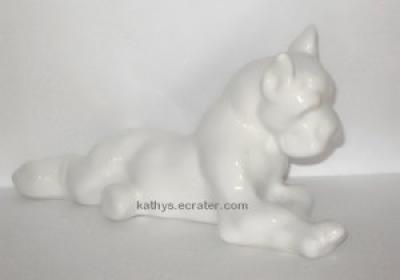 White Ceramic Art Pottery Laying Boxer Dog Animal Figurine