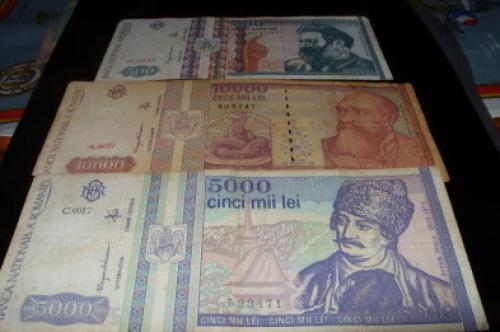 Banknote Romania-500/ 5000/10000 Lei 1992/4