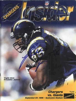Freddie Jones autographed San Diego Chargers 1998 program