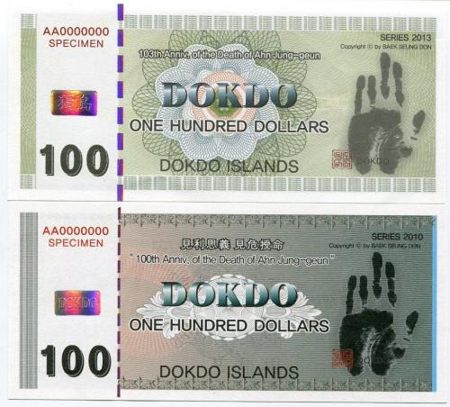DOKDO ISLANDS  100 DOLLARS 2010-2013 SPECIMEN 100th vs. 103th UNC