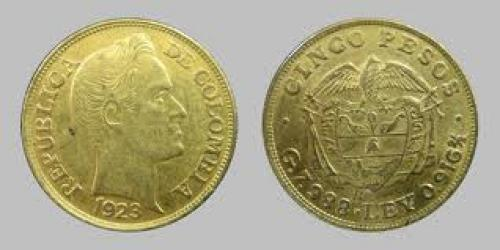 Coins; Bullion Gold Columbia 5 Peso Coins