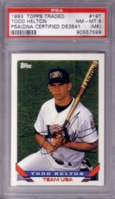 Todd Helton autographed 1993 Topps Traded Rookie Card with full name signature PSA/DNA PSA 8