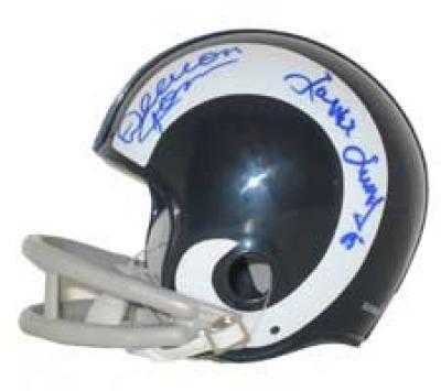 Deacon Jones Lamar Lundy Merlin Olsen Rosey Grier (Fearsome Foursome) autographed Rams mini helmet