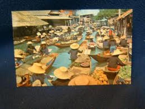 Bankok floating market postcard; Bankok Thailand