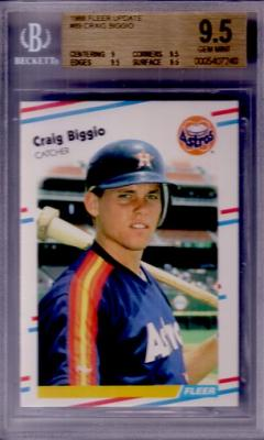 Craig Biggio 1988 Fleer Update Rookie Card graded BGS 9.5 GEM MINT