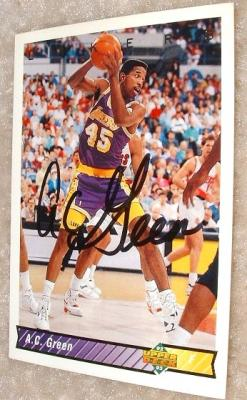 A.C. Green autographed Los Angeles Lakers 1992-93 card