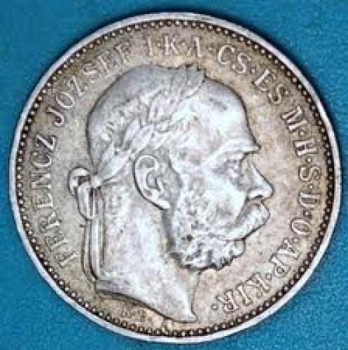 Coins; Hungary 1893 1 Korona Silver Coin.