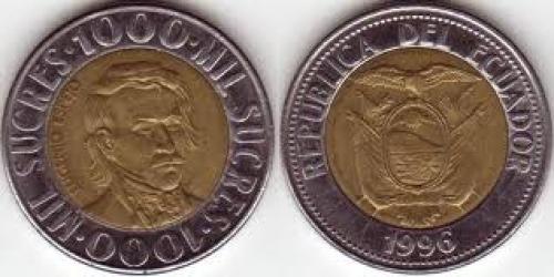 Coins; 1000 Sucres Ecuador coin