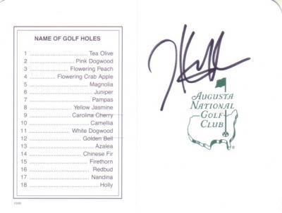 Hunter Mahan autographed Augusta National Masters scorecard