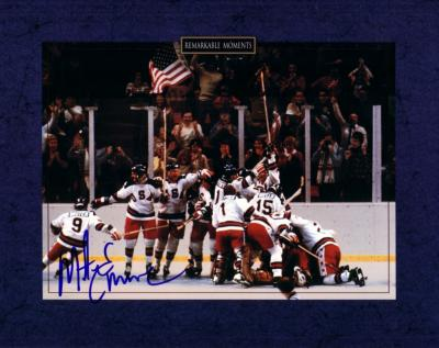 Mike Eruzione autographed 1980 Miracle on Ice U.S. Olympic Hockey Team 8x10 celebration photo