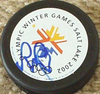 Rob Blake autographed 2002 Salt Lake City Olympic puck