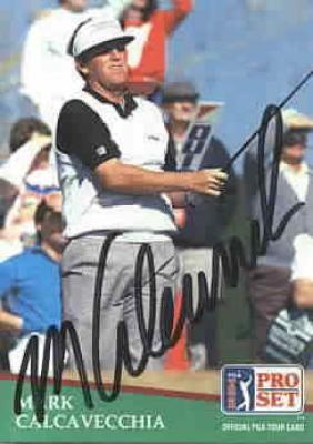 Mark Calcavecchia autographed 1991 Pro Set golf card