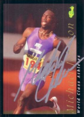 Michael Johnson autographed 1992 Classic World Class Athletes card