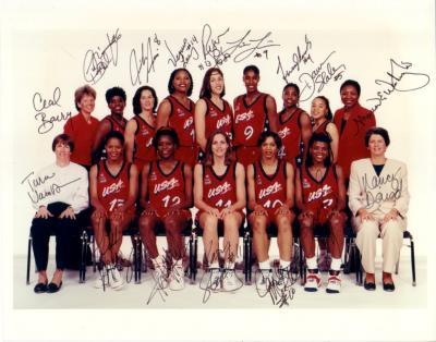 1996 USA Olympic Women's Basketball Team autographed 8x10 photo (Lisa Leslie Sheryl Swoopes)