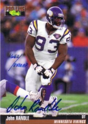 John Randle certified autograph Minnesota Vikings 1995 Pro Line card