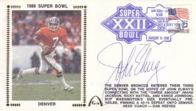 John Elway autographed Denver Broncos Super Bowl 22 cachet envelope