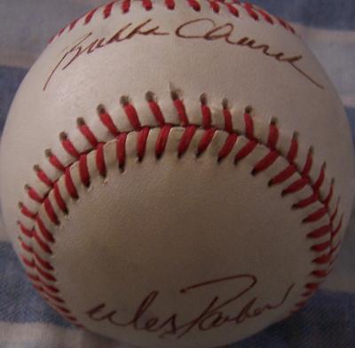 Bubba Church Tommy Davis Wes Parker autographed NL baseball