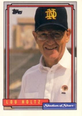 Lou Holtz Notre Dame 1992 Topps Stadium of Stars card