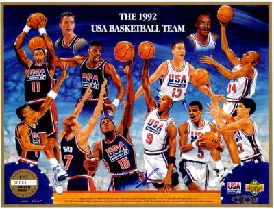 Magic Johnson autographed 1992 USA Dream Team UDA commemorative sheet