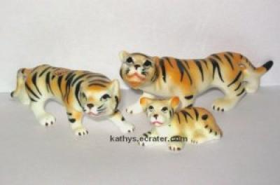 Bradley Bone China Family 3 Lot Tiger Animal Figurine