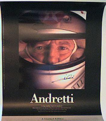 Mario Andretti autographed poster