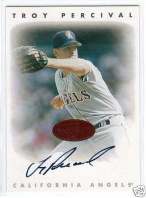 Troy Percival certified autograph Angels 1996 Leaf Signature card