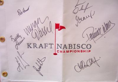 LPGA Kraft Nabisco flag autographed by 9 winners (Lorena Ochoa Karrie Webb)
