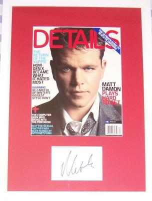Matt Damon autograph framed with Details magazine cover