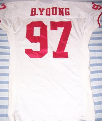 Bryant Young autographed San Francisco 49ers 1995 game worn jersey with team letter