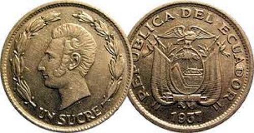 Coins; Ecuador  1 sucre ; Year:1937