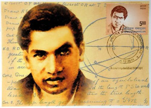 India Pvt. Maxim Card of Srinivasa Ramanujan Famous Mathematician  of India
