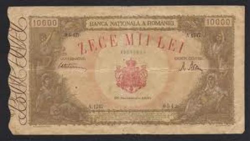 Banknotes; 10000 Lei - Romania Banknote 1945