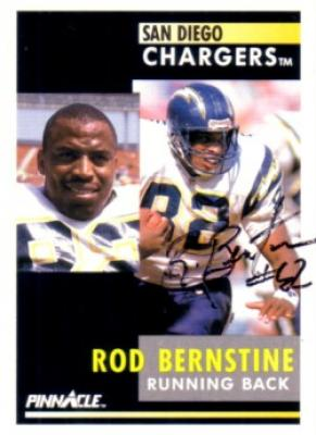 Rod Bernstine autographed San Diego Chargers 1991 Pinnacle card