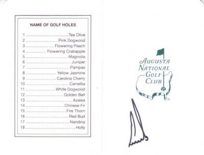 Ernie Els autographed Augusta National Masters scorecard