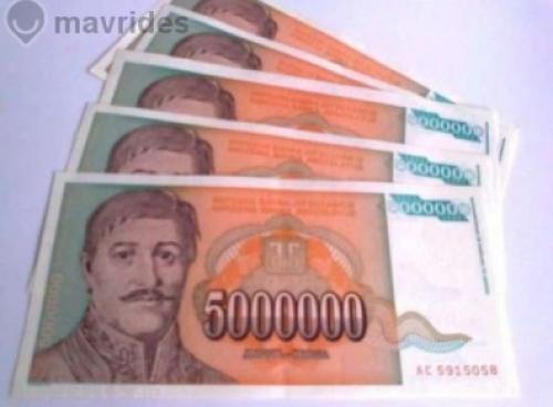 Yugoslavia 5 Million Dinara, 1993- 5 pcs