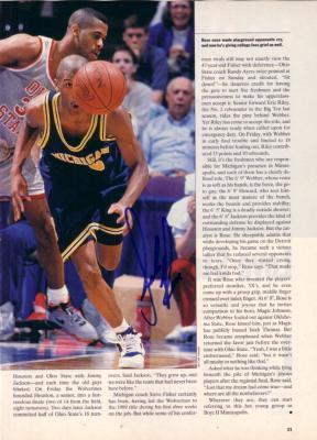 Jalen Rose autographed Michigan Wolverines magazine photo