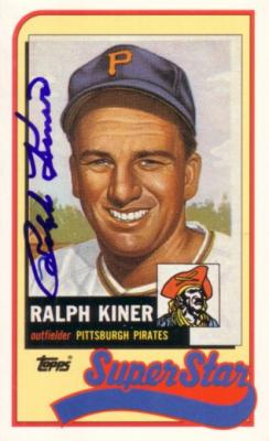 Ralph Kiner autographed Pittsburgh Pirates 1989 Topps Super Star jumbo card