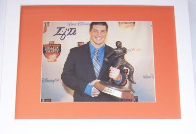 Tim Tebow autographed 2007 Davey O'Brien Trophy 8x10 photo framed