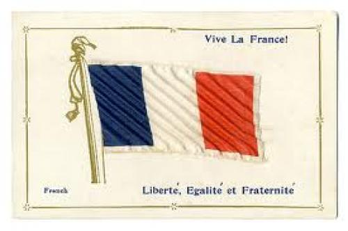 Flag vive la france patriotic applique postcard